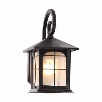 Brimfield 1-Light Aged Iron Outdoor Wall Lantern Sconce (2-Pack)