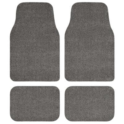 Grey Recycled Rugged All-Weather Textile Universal Fit Car Floor Mats for Cars, SUVs, Vans and Trucks (4-Piece)