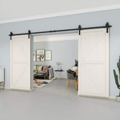 12 ft./144 in. Black Steel Straight Strap Sliding Barn Door Track and Hardware Kit for Double Doors with Floor Guide