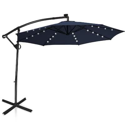 10 ft. 360° Rotation Aluminum Offset Cantilever Solar Tilt Patio Umbrella LED Lights in Navy