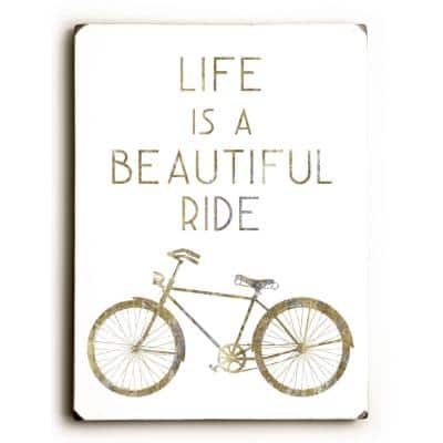 """9 in. x 12 in. """"Gilded Hipster Bicycle"""" by WildApple Solid Wood Wall Art"""