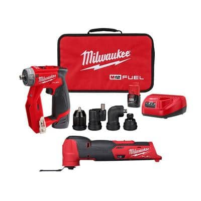 M12 FUEL 12-Volt Lithium-Ion Brushless Cordless 4-in-1 Installation 3/8 in. Drill Driver & Multi-Tool Combo Kit (2-Tool)