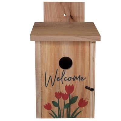 Decorative Welcome Tulip Design Cedar Blue Bird House