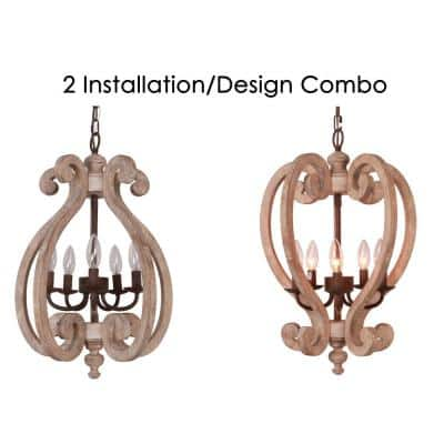 Farmhouse 5-Light Weathered Wood Chandelier - 2 Style Combo