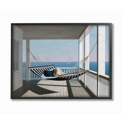 """16 in. x 20 in. """"Blue and White Striped Hammock on the Beach House Porch"""" by Zhen-Huan Lu Framed Wall Art"""