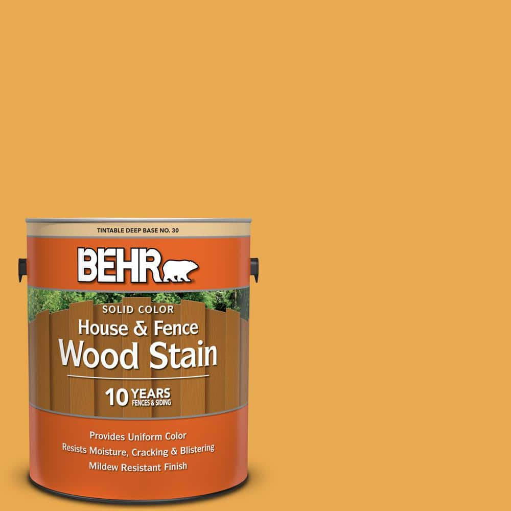 Behr 1 Gal Bic 43 Optimist Gold Solid Color House And Fence Exterior Wood Stain 03001 The Home Depot