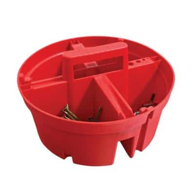 10.375 in. 4-Compartment Bucket Super Stacker Small Parts Organizer in Red