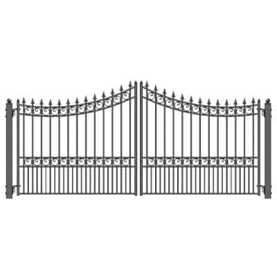 Moscow Style 14 ft. x 6 ft. Black Steel Dual Driveway Fence Gate