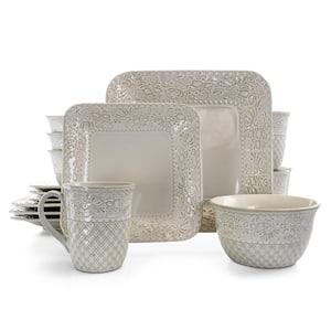 Ivory Lotus 16-Piece Traditional White Stoneware Dinnerware Set (Service for 4)