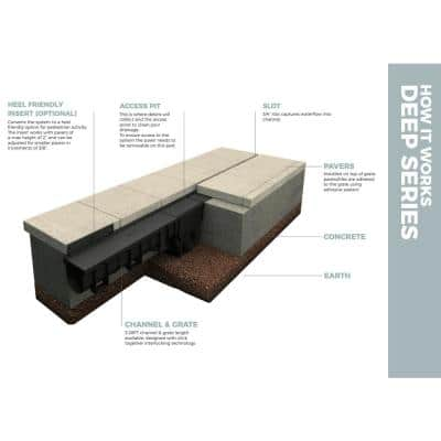 Deep Series Invisible Edge Black Drainage Pit and Catch Basin for 5.4 in. Modular Trench and Channel Drain Systems