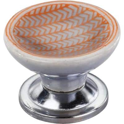 Arrow Pattern 1-4/7 in. Orange Cupped Cabinet Knob