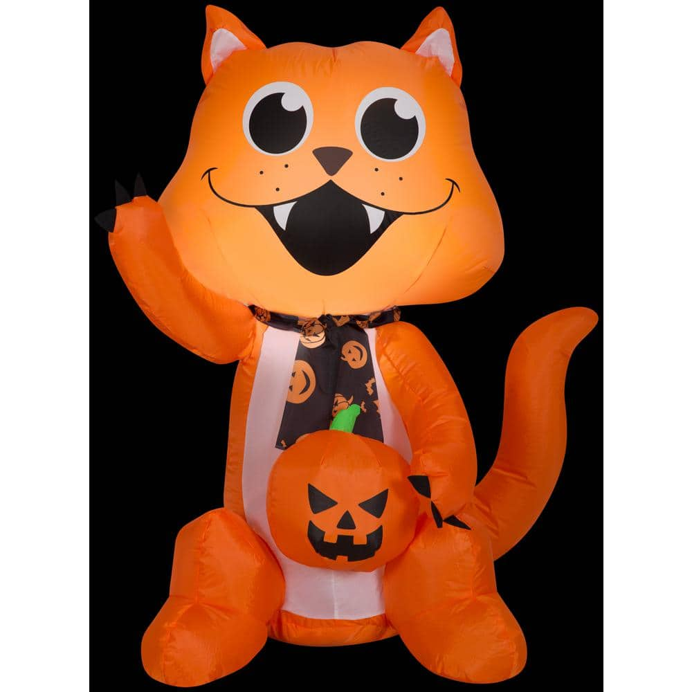 Reviews For Gemmy 3 5 Ft H Big Eyed Cat With Scarf And Pumpkin Sm Halloween Inflatable G 222750 The Home Depot
