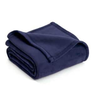 Plush Eclipse Blue Polyester Twin Blanket