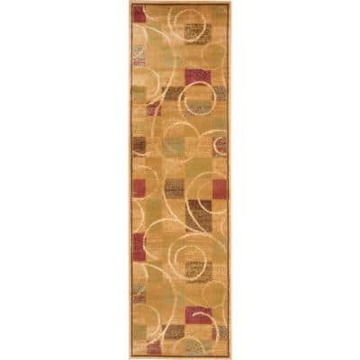 Expressions Beige 2 ft. x 6 ft. Geometric Contemporary Runner Rug