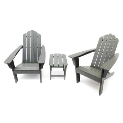 Marina Gray 3-Piece Poly Plastic Outdoor Patio Adirondack Chair and Table Set
