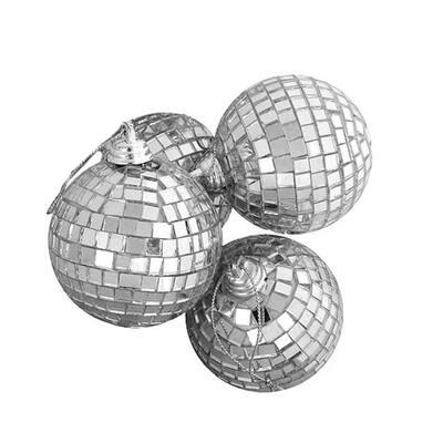Silver Splendor Mirrored Glass Disco Ball Christmas Ornaments (4-Count)