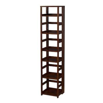 67 in. Mocha Walnut Wood 6-shelf Vertical Bookcase with Open Back