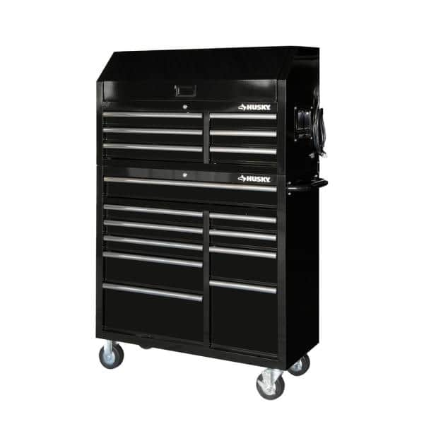 Husky 41 In 16 Drawer Tool Chest And Cabinet Combo In Gloss Black Hotc4116b12s The Home Depot
