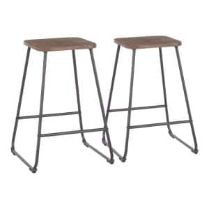 Zac 24 in. Industrial Wood and Metal Counter Stool (Set of 2)