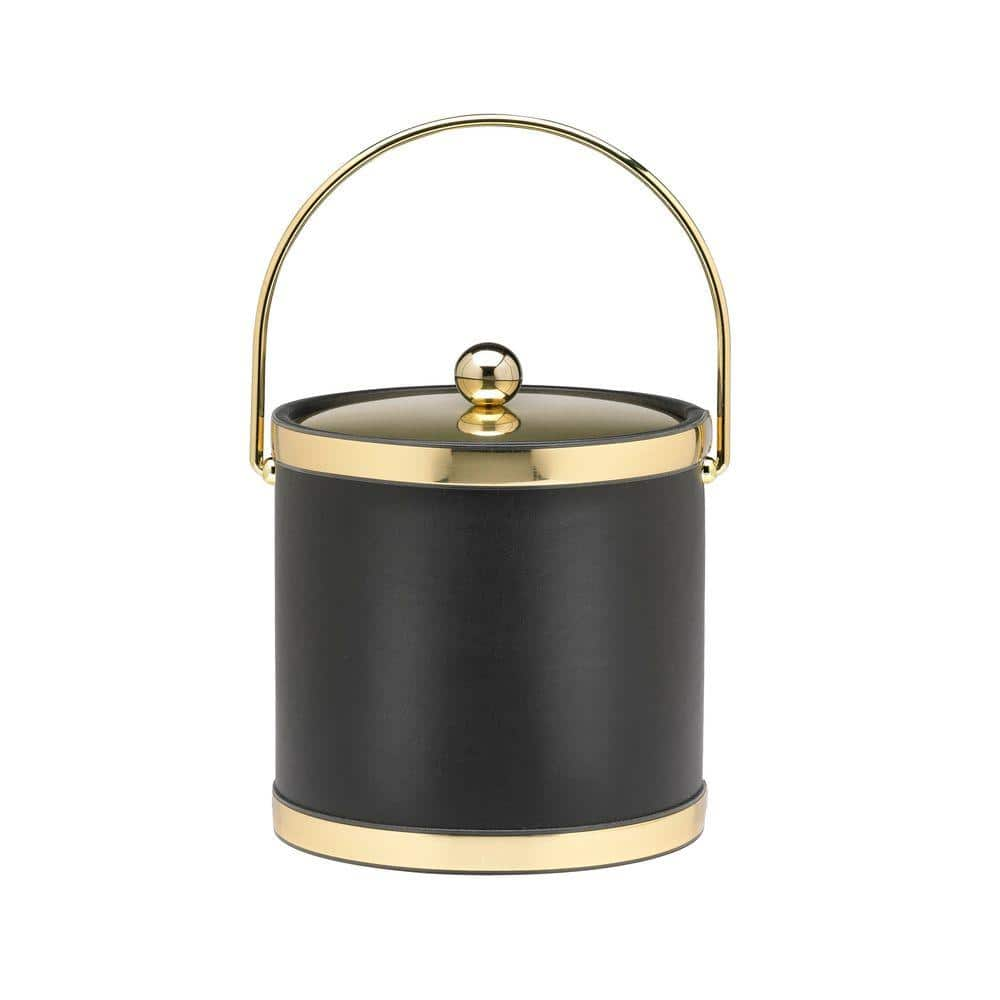 Kraftware Sophisticates 3 Qt Black W Polished Brass Ice Bucket With Bale Handle Metal Cover 50068 The Home Depot