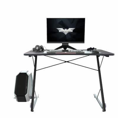 43.3in. Rectangular Black Computer Gaming Desk with LED Lights & Large Carbon Fiber Surface, Ergonomic PC Gaming Table