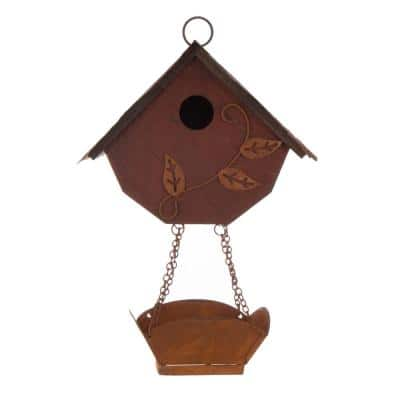13 in. H Distressed Solid Wood Birdhouse with Bird Bath