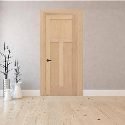 30 in. x 80 in. 3-Panel Mission Right-Hand Unfinished Red Oak Wood Single Prehung Interior Door with Nickel Hinges