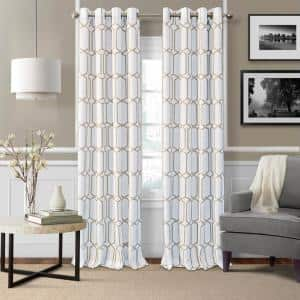 Taupe Trellis Blackout Curtain - 52 in. W x 95 in. L