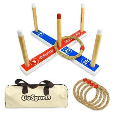 Premium Wooden Ring Toss Game with Carrying Case, Great for All Ages