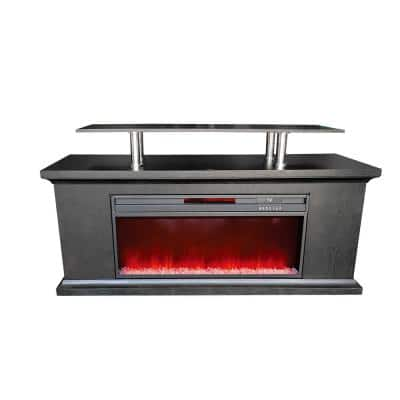 Deluxe Series 60 in. Media Center Electric Fireplace with Multi-Color Fire Bed and Glass Fire Beads in Black