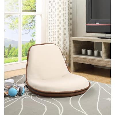Quickchair Beige/Brown Mesh Folding Floor Chair for Indoor/Outdoor