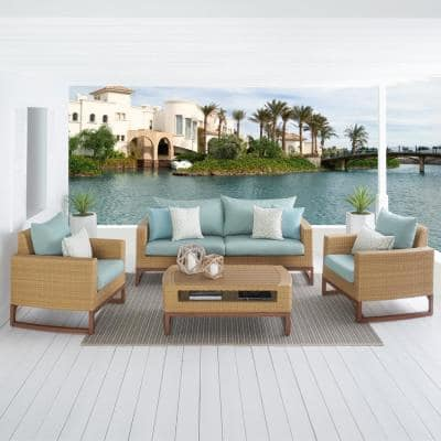 Mili 4-Piece Wicker Patio Conversation Deep Seating Set with Sunbrella Spa Blue Cushions