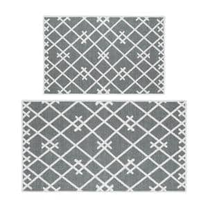 Sussexhome Geometric Gray 44 In X 24 In And 31 5 In X 20 In Non Skid Washable Thin Multipurpose Kitchen Rug Mat Set Of 2 Ktc Sn 03 Set The Home Depot