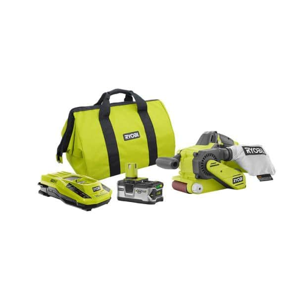 RYOBI 18-Volt ONE+ Lithium-Ion Cordless Brushless 3 in. x 18 in. Belt Sander Kit with 4 Ah LITHIUM+ Battery, Charger, and Bag | The Home Depot