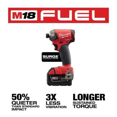 M18 FUEL SURGE 18-Volt Lithium-Ion Brushless Cordless 1/4 in. Hex Impact Driver Kit W/ M18 FUEL Impact Driver