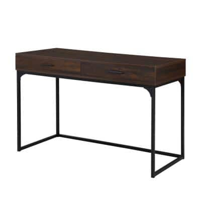 Horatio 47.25 in. Rectangle Elm Wood Top 2 drawer Writing Desk
