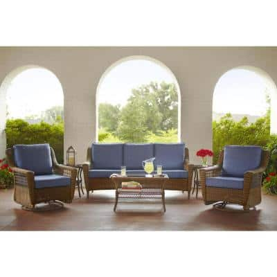 Spring Haven Brown All-Weather Wicker Outdoor Patio Sofa with Sky Blue Cushions