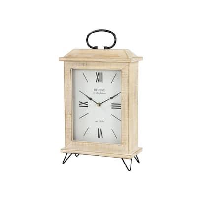 Farmhouse Rectangular Whitewashed Beige Wooden Table Clock