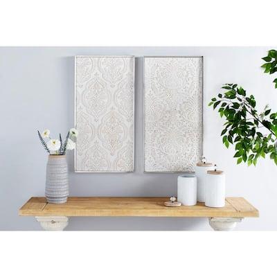 Large Rectangular Distressed White Damask Patterns Wood Wall Art, Set of 2