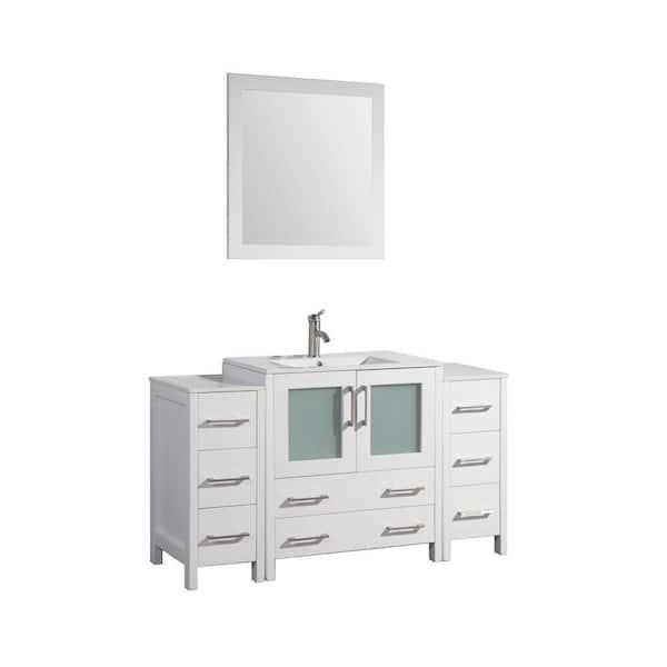 Vanity Art Brescia 54 In W X 18 In D X 36 In H Bathroom Vanity In White With Vanity Top In White With White Basin And Mirror Va3030 54w The Home Depot