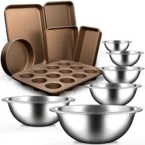 12-Piece Stainless Steel Kitchen Mixing Bowl and Nonstick Bakeware Set