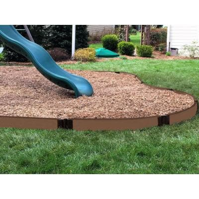 One Inch Series 16 ft. Uptown Brown Composite Curved Playground Border