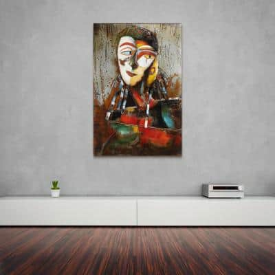 """60 in. x 40 in. """"Homme 1"""" Mixed Media Iron Hand Painted Dimensional Wall Art"""