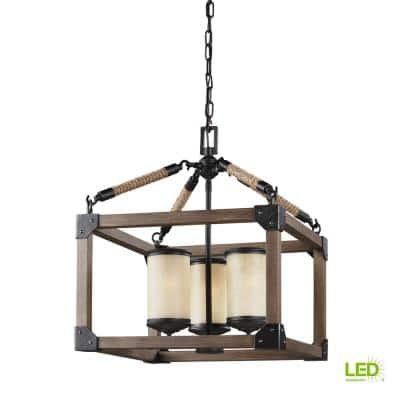 Dunning 3-Light Weathered Gray and Distressed Oak Rustic Farmhouse Single Tier Hanging Chandelier with LED Bulbs