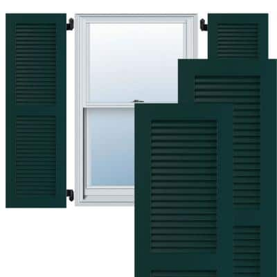 """15"""" x 49"""" True Fit PVC Two Equal Louver Shutters, Thermal Green (Per Pair)"""