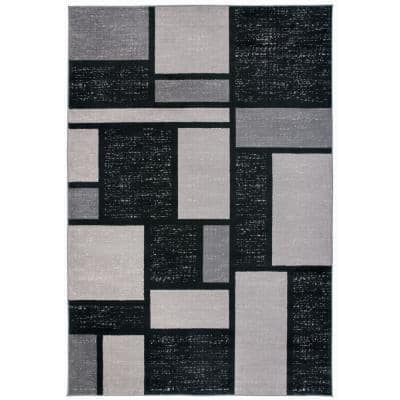 Modern Boxes Geometric Gray 9 ft. x 12 ft. Indoor Area Rug