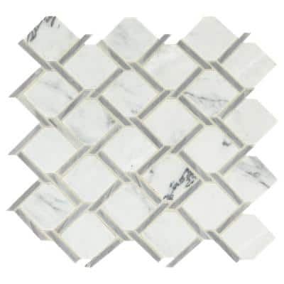 Premier Accents Fog Chain Link 12 in. x 12 in. x 8 mm Stone Mosaic Floor and Wall Tile (0.72 sq. ft./Each)