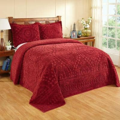 Rio2-Piece 100% Cotton Tufted Burgundy Twin Floral Design Bedspread Set