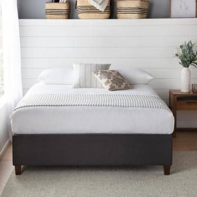 Ava Upholstered Platform Bed with Slats - Charcoal, Cal King