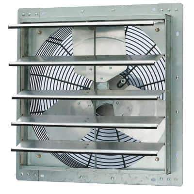 3852 CFM Silver Electric Powered Gable Mount Shutter Fan/Vent